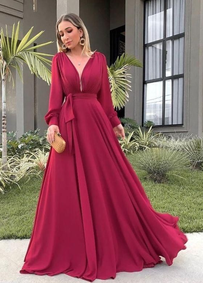 V Neck Long Sleeves Prom Dresses