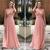 Pink Prom Dress,Tulle Prom Dress,A-Line Prom Dresses,V-Neck Prom Dress