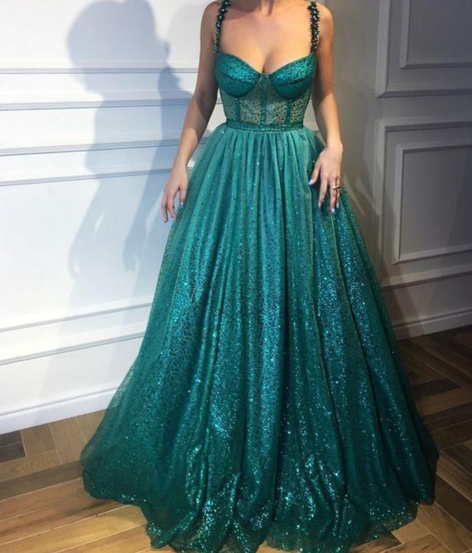 Sparkly Spaghetti Straps Unique Modest Popular Prom Dresses