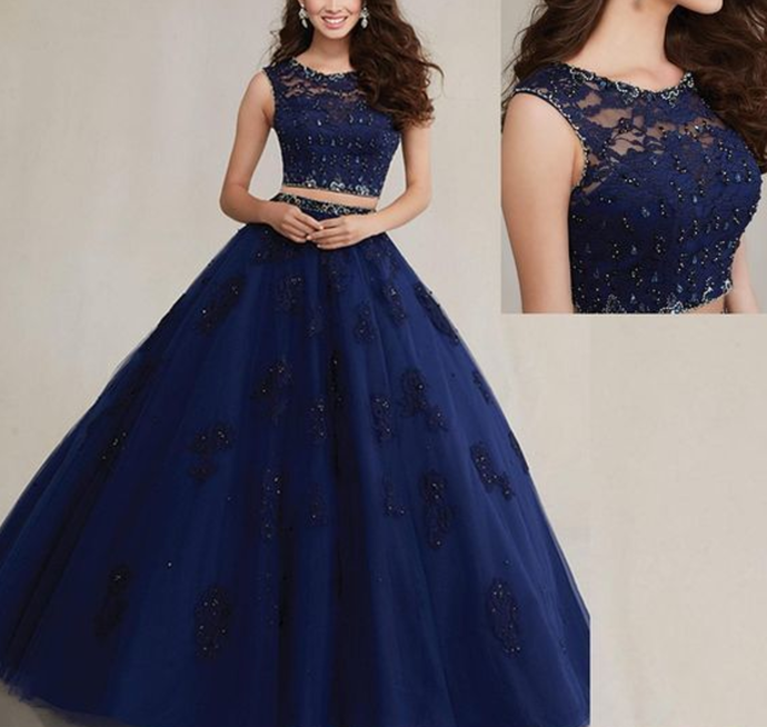 Two Piece Quinceanera Dress Beaded Blue Prom Dress Lace Ball Gown