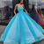 Pretty Blue Tulle Strapless Floor Length Lace Up Sweet 16 Prom Dress, Ball Gown