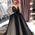 black tulle ball gown prom dresses plunge neck