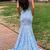 Sleeveless Trumpet/Mermaid Deep V-neck Long Prom Dresses with Open Back