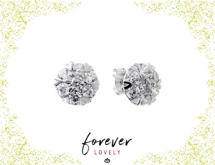 Flower Studs - CZ Silver Studs - Tiny Stone Earrings - CZ Post Earrings -