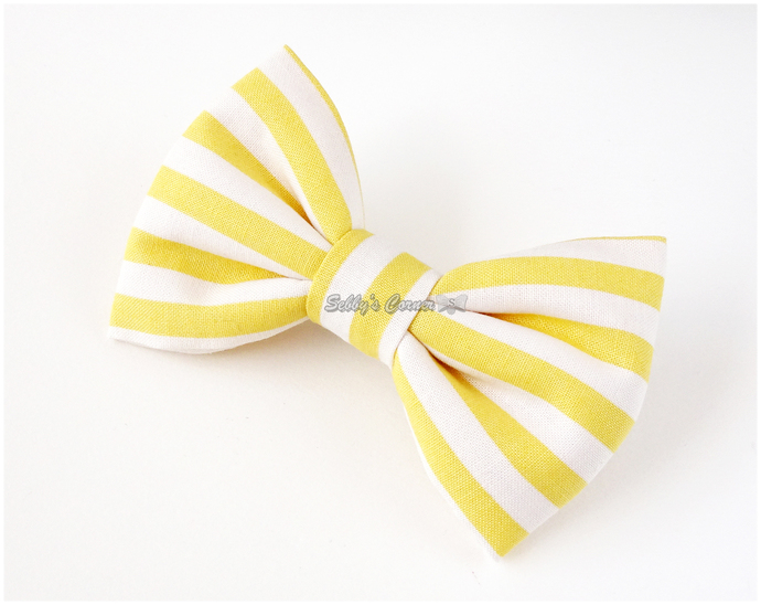 White and Yellow Striped Bow for Cats, Bow ties for dogs, Pet accessories