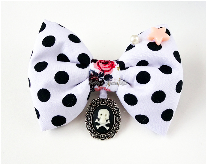 Scream Queen Polka Dot Bow Tie for Cats, Black and White, Gothic Pet Fashion,