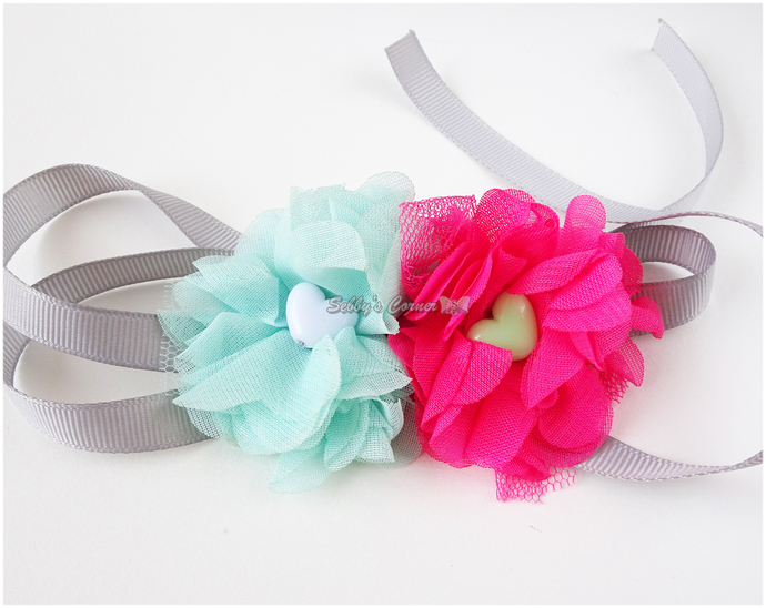 Pink and Teal Flower Ribbon Neckwear for Cats, Pet Accessories, Photo Props,