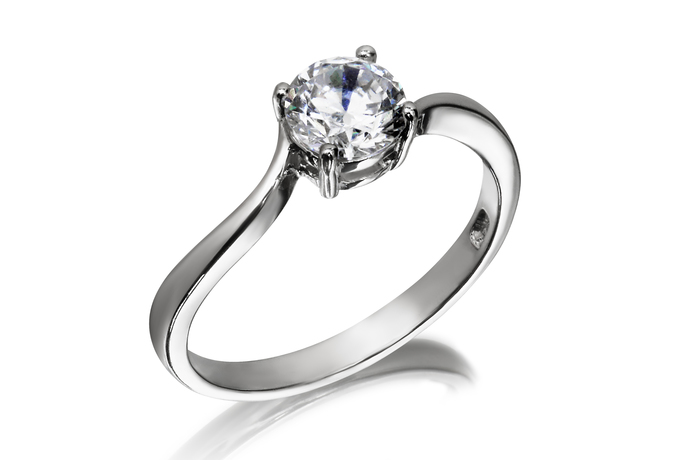 7mm Swirl Solitaire Ring