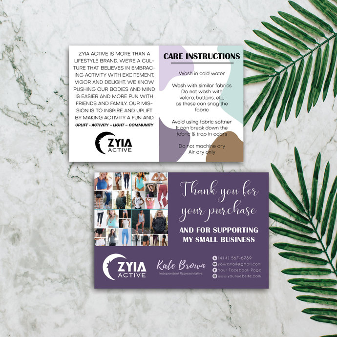 ZYIA Care Instruction Cards, Personalized ZYIA Thank Cards ZA05