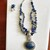 Lapis Lazuli 2 Layered Chips Oval shape Silver Crowned Pendent with crystal