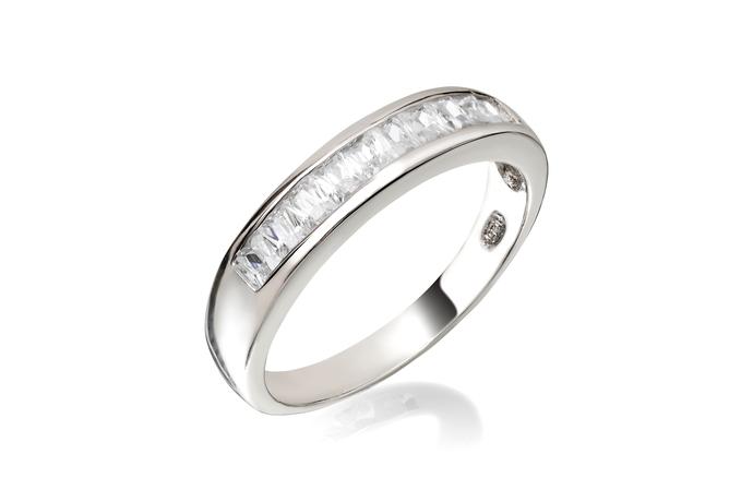 Princess Cut Half Circle Channel Ring