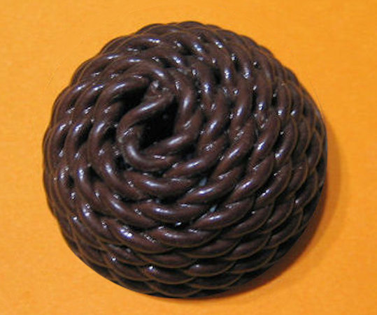 Extruded Celluloid Button, Brown, NBS Large