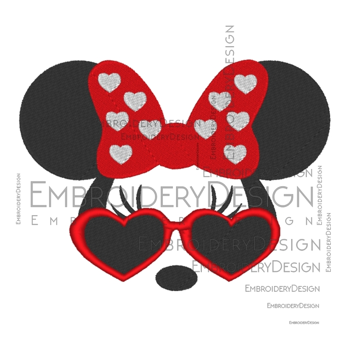 Minnie Mouse sunglasses disney Embroidery Machine Designs Love Heart Instant