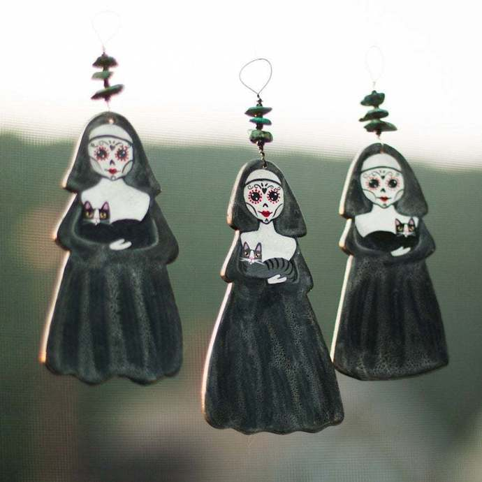 Day of the Dead Nuns and Cats Clay Folk Art Ornament