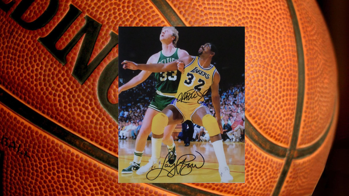 Larry Bird and Magic Johnson 8 by 10 signed photo