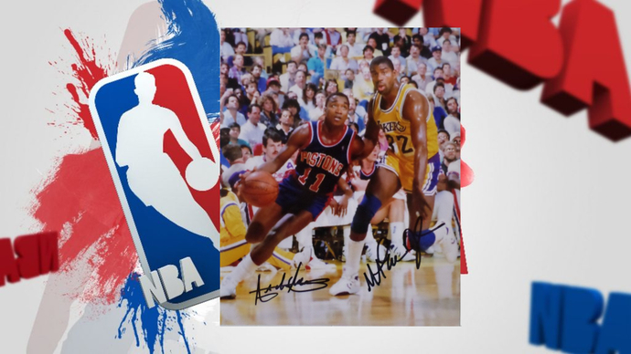 Isiah Thomas and Magic Johnson 8 x10 signed photo