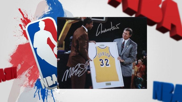 Jerry West and Earvin Magic Johnson 8x10 signed photo