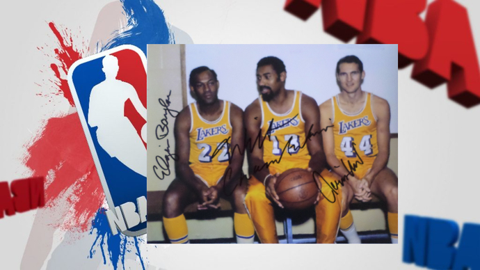 Wilt Chamberlain Jerry West and Elgin Baylor 8 by 10 signed photo