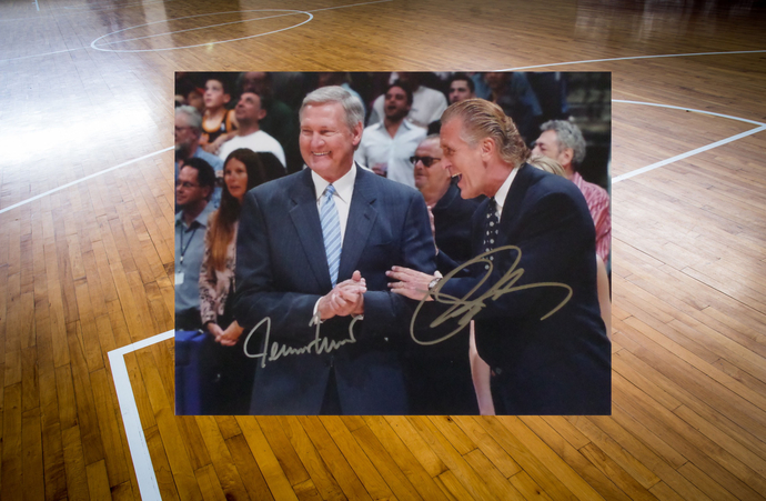 Jerry West and Pat Riley 8 by 10 signed photo