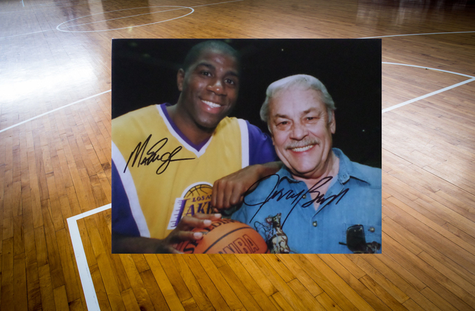 Earvin Magic Johnson and Jerry Buss 8 by 10 signed photo