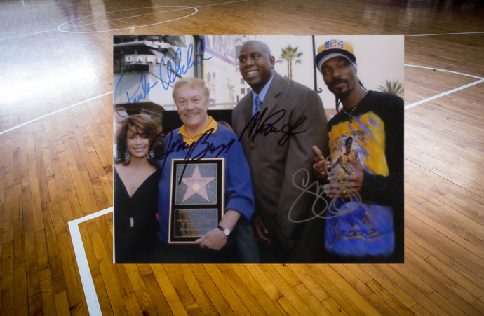 Jerry Buss and Earvin Magic Johnson 8 by 10 signed photo
