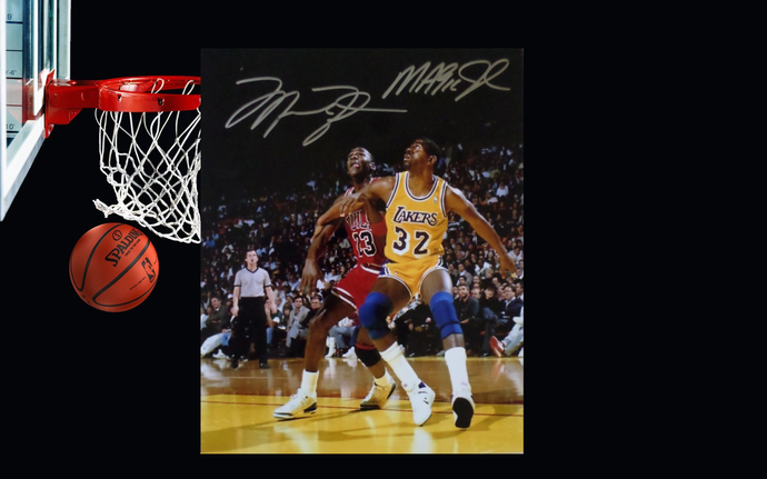 Michael Jordan and Earvin Magic Johnson 8 by 10 signed photo