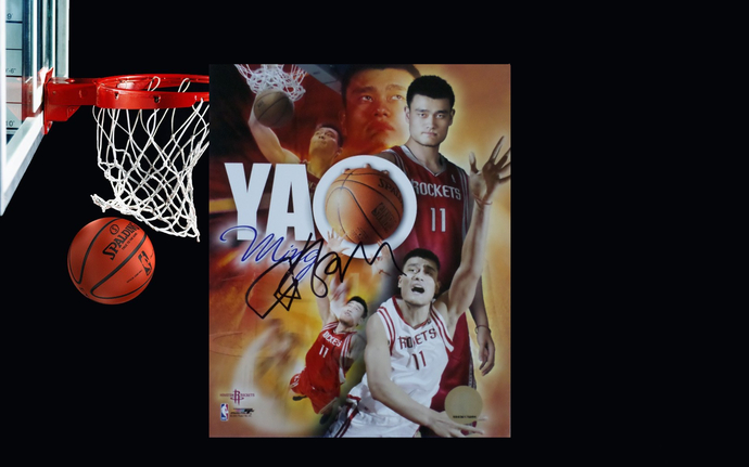 Yao Ming Houston Rockets 8 by 10 signed photo