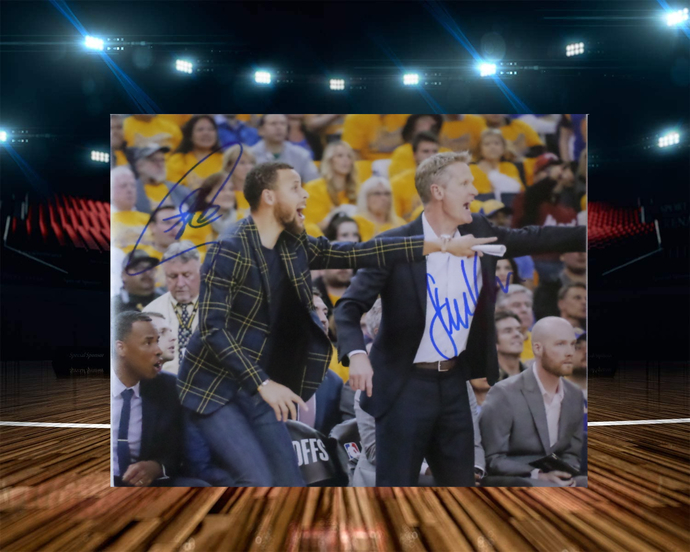 Steve Kerr and Steph Curry 8 by 10 signed photo