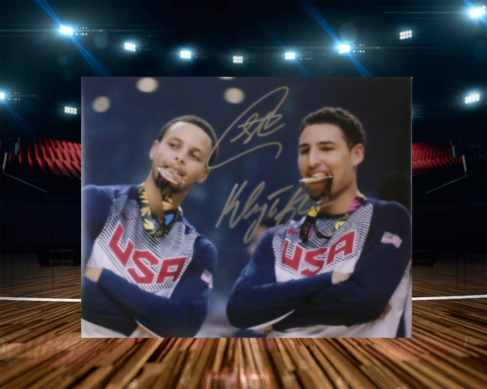 Klay Thompson and Steph Curry 8 by 10 signed photo