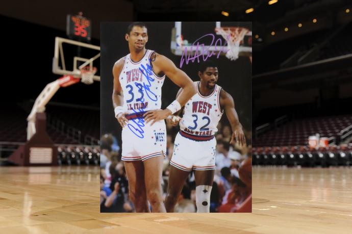 Kareem Abdul-Jabbar and Earvin Magic Johnson 8 by 10 signed photo
