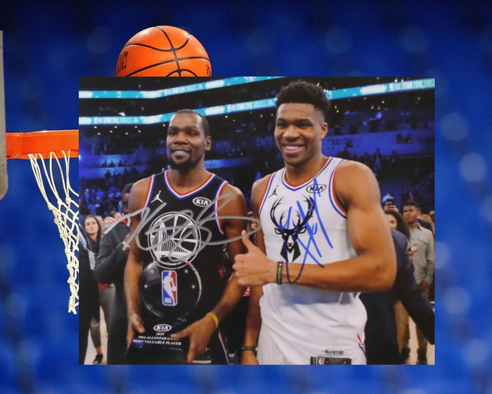 Giannis Antetokounmpo and Kevin Durant 8 by 10 signed photo