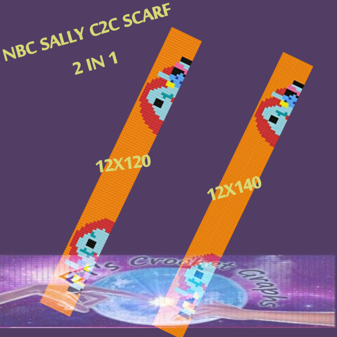 Sally C2C Scarf 2in1 size set - includes Graph with Color Block Chart