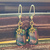 Royal Color Explosion; Dainty Dangle Earrings in Purple, Green and Mustard with