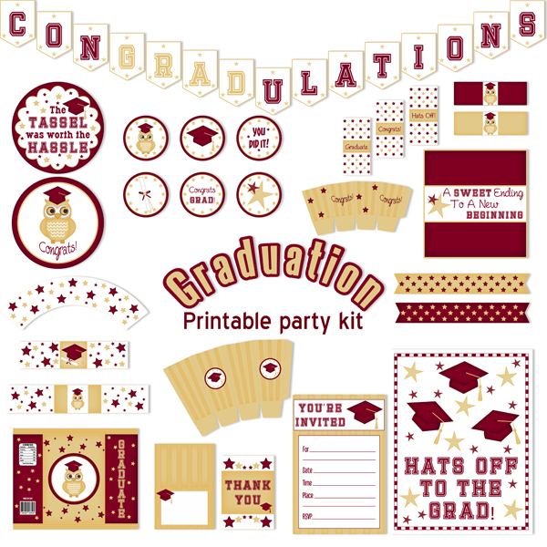 Graduation Printable Party Kit (Burgundy)