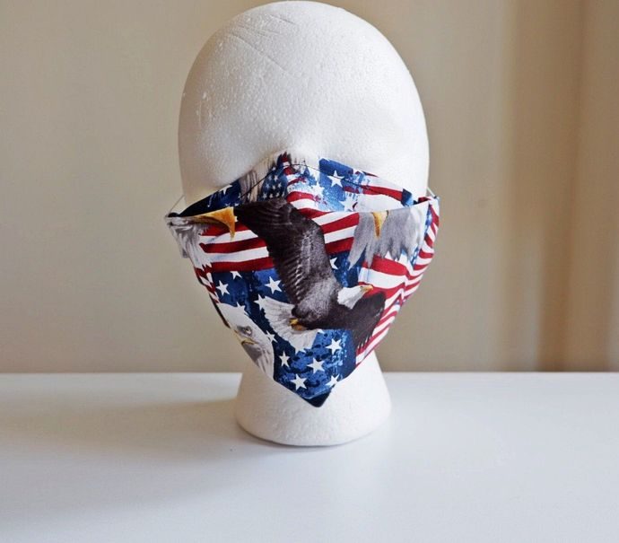 American Flag Preventative Face Mask, USA flag face mask, adult face mask