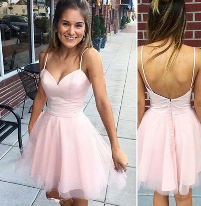 Sweetheart Spaghetti Straps Pink Homecoming Dresses,Cheap Short Prom Dresses