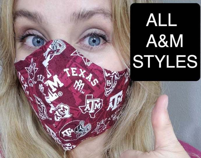 Aggie A&M Texas Mask, Washable Face mask, Double Layered, Made in Texas,