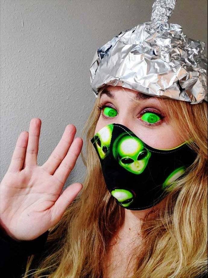 Alien, Martian, UFO 2020, Washable Weird Face mask, 100 percent cotton, double