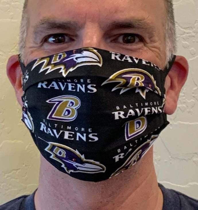 Baltimore Ravens Face Mask, NFL Ravens Face Mask, Two Layer Cotton, Reversible
