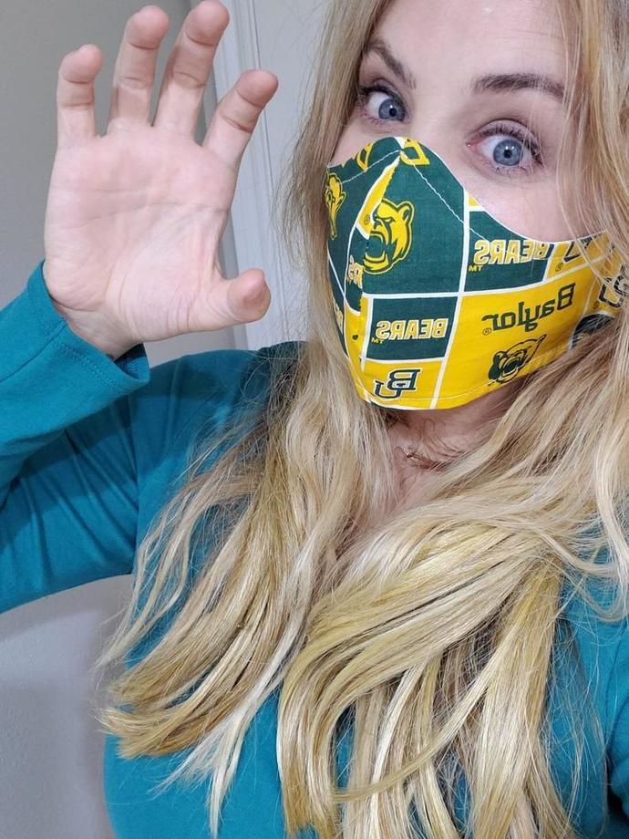 Baylor Bears, BU, Washable Face mask, Double Layered, USA, Lightweight Fabric, 1