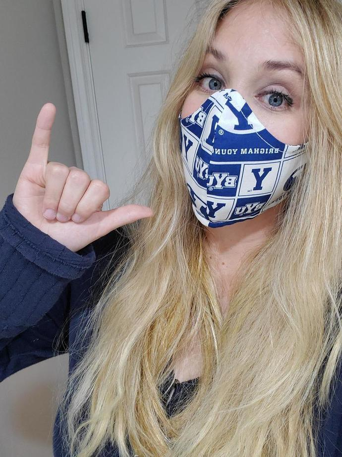 BYU, Brigham Young University, Washable Face mask, Double Layered Sewn in USA,