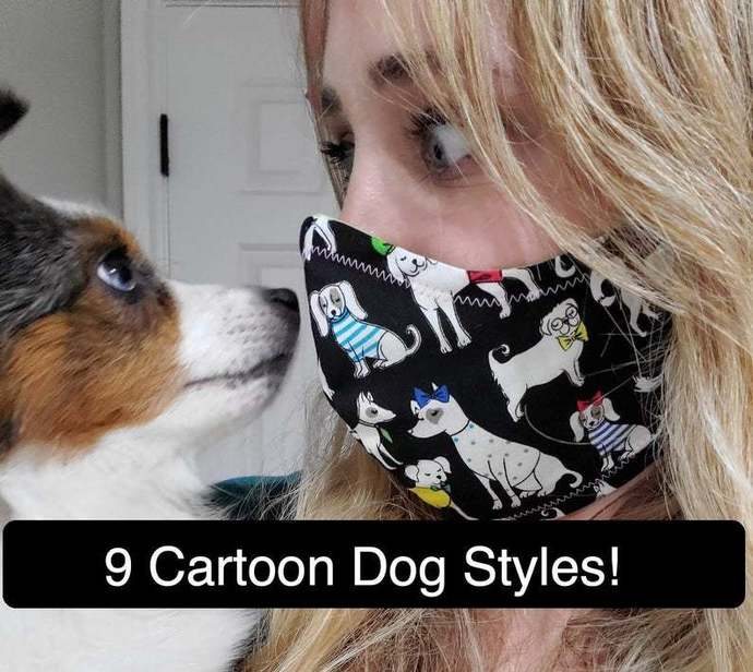 Cartoon Puppies and Dogs, Washable Face mask, Double Layered, USA, Lightweight
