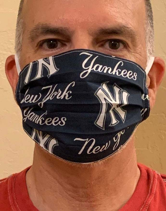 Face Mask - New York Yankees Baseball Face Mask, With Nose Wire Option, Two