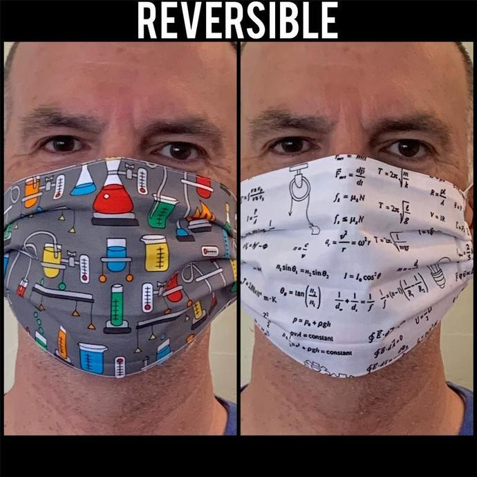 Face Mask - Reversible Science Math Chemistry Biology Lab Fabric Pleated Face