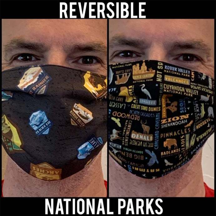 Face Mask,  Reversible National Parks Face Mask, With Nose Wire Option, Two