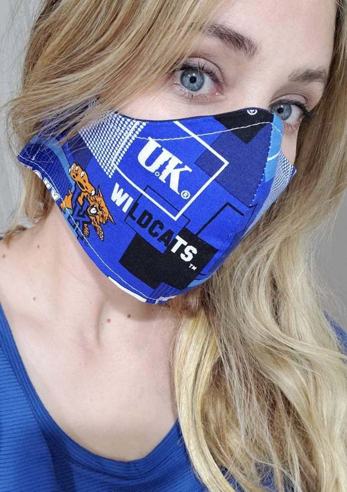 Kentucky Wildcat Washable FaceMask, UK, made in USA, Same Day Shipping. Double