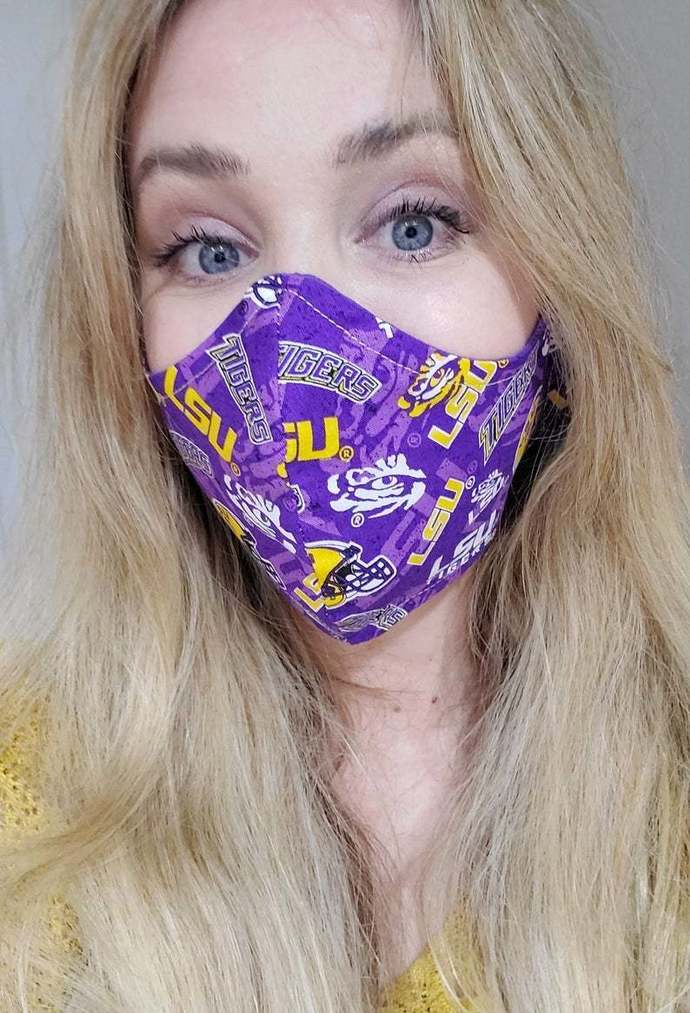 LSU Tigers, Louisiana State,Washable Face Mask, Double Layered Sewn in USA, 100