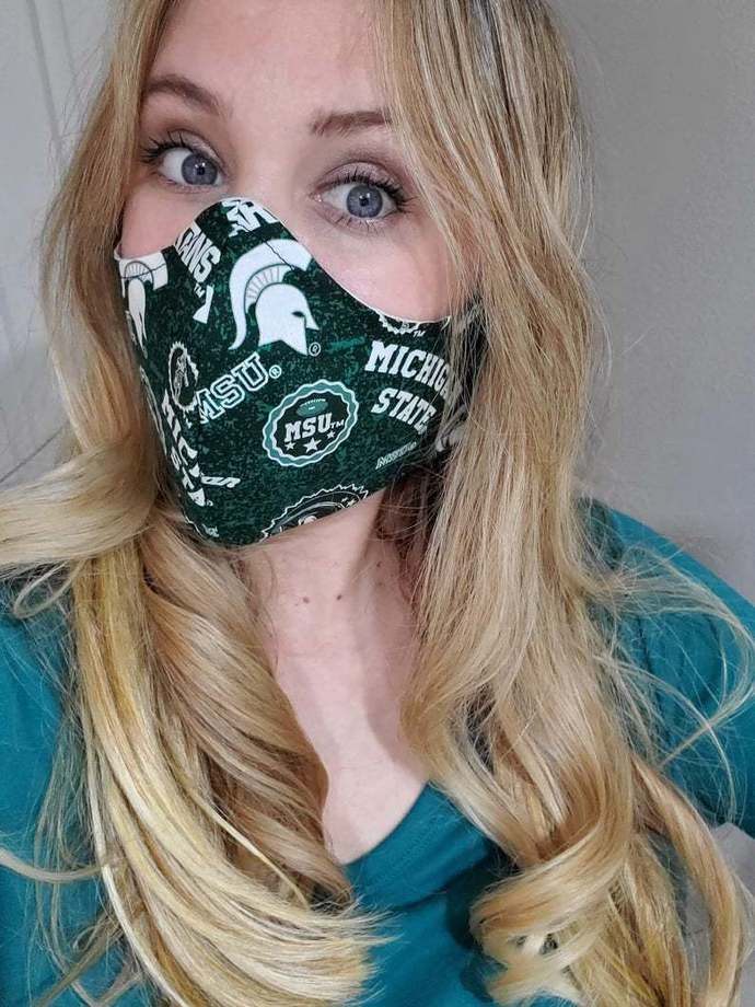 MSU Michigan State Spartans, Washable Face mask, 100 percent cotton, double