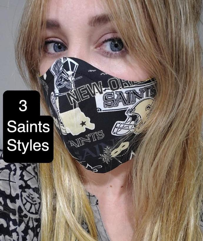 New Orleans Saints, NFL, Washable Face Mask, Double Layered Sewn in USA, 100