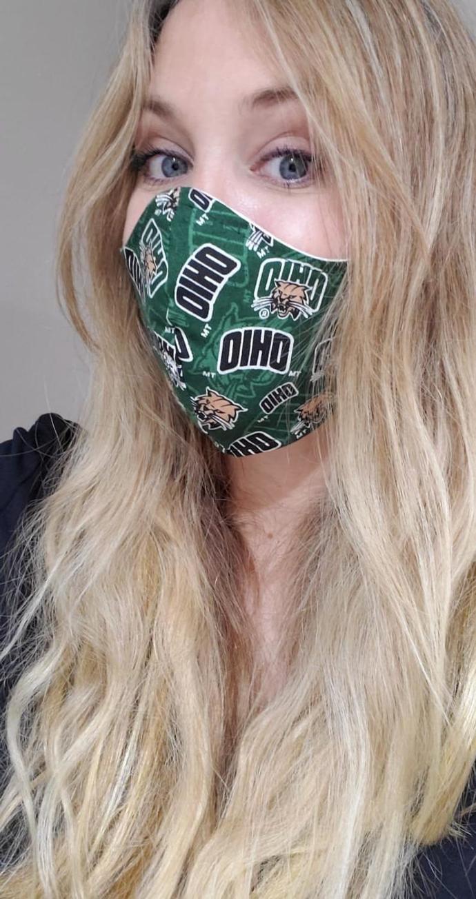 Ohio University, Ohio Bobcats, Washable Face mask, 100 percent cotton, double